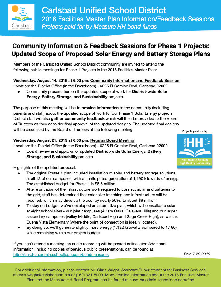 Measure HH Solar Projects  eeting Scheduled for August 14, 2019